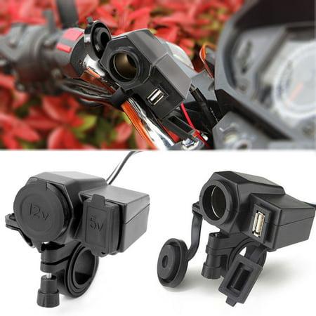 EEEKit Motorcycle Waterproof 12V Cigarette Lighter Socket Phone GPS USB Power
