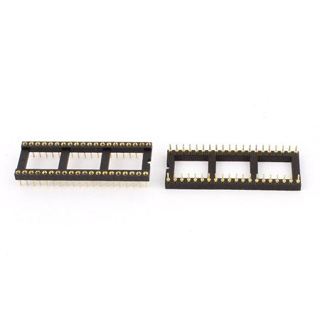 Unique Bargains 2pcs 2.54mm Gold Plated 40Pin DIP Solder Type IC Socket Panel Adapters