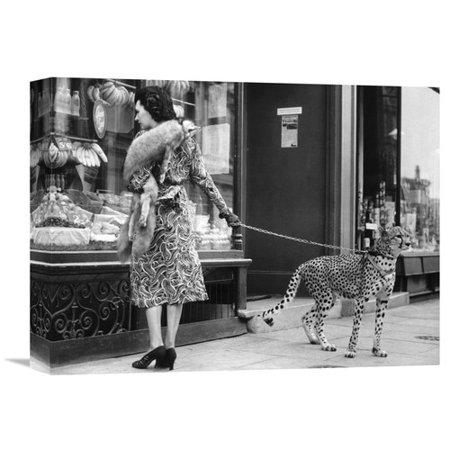 Global Gallery 'Elegant Woman with Cheetah' Photographic Print on Wrapped Canvas for $<!---->