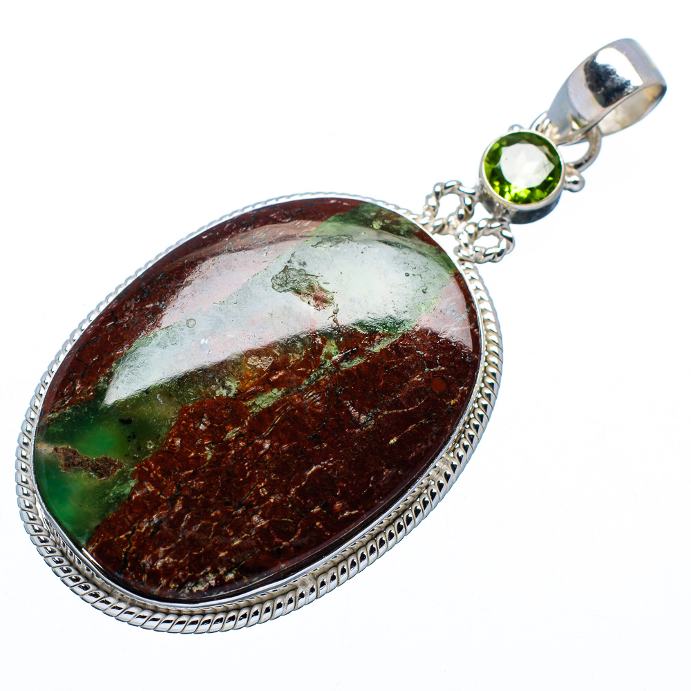 """Ana Silver Co Boulder Chrysoprase, Peridot Pendant 2 1 2"""" (925 Sterling Silver) Handmade Jewelry PD618680 by Ana Silver Co."""