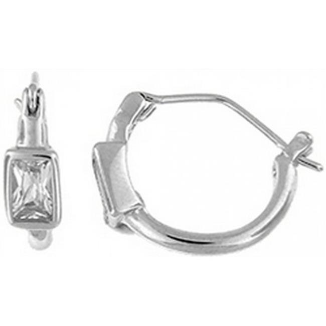 Doma Jewellery DJS02398 Sterling Silver (Rhodium Plated) Hoop Earrings with CZ - 1. 8mm Wide