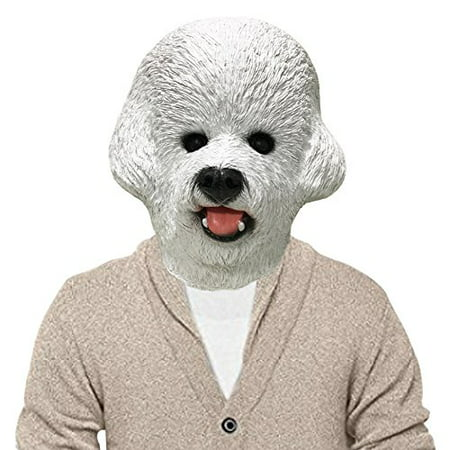 Bichon Frise Dog Halloween Costume Face Mask (Painted Dog Faces For Halloween)