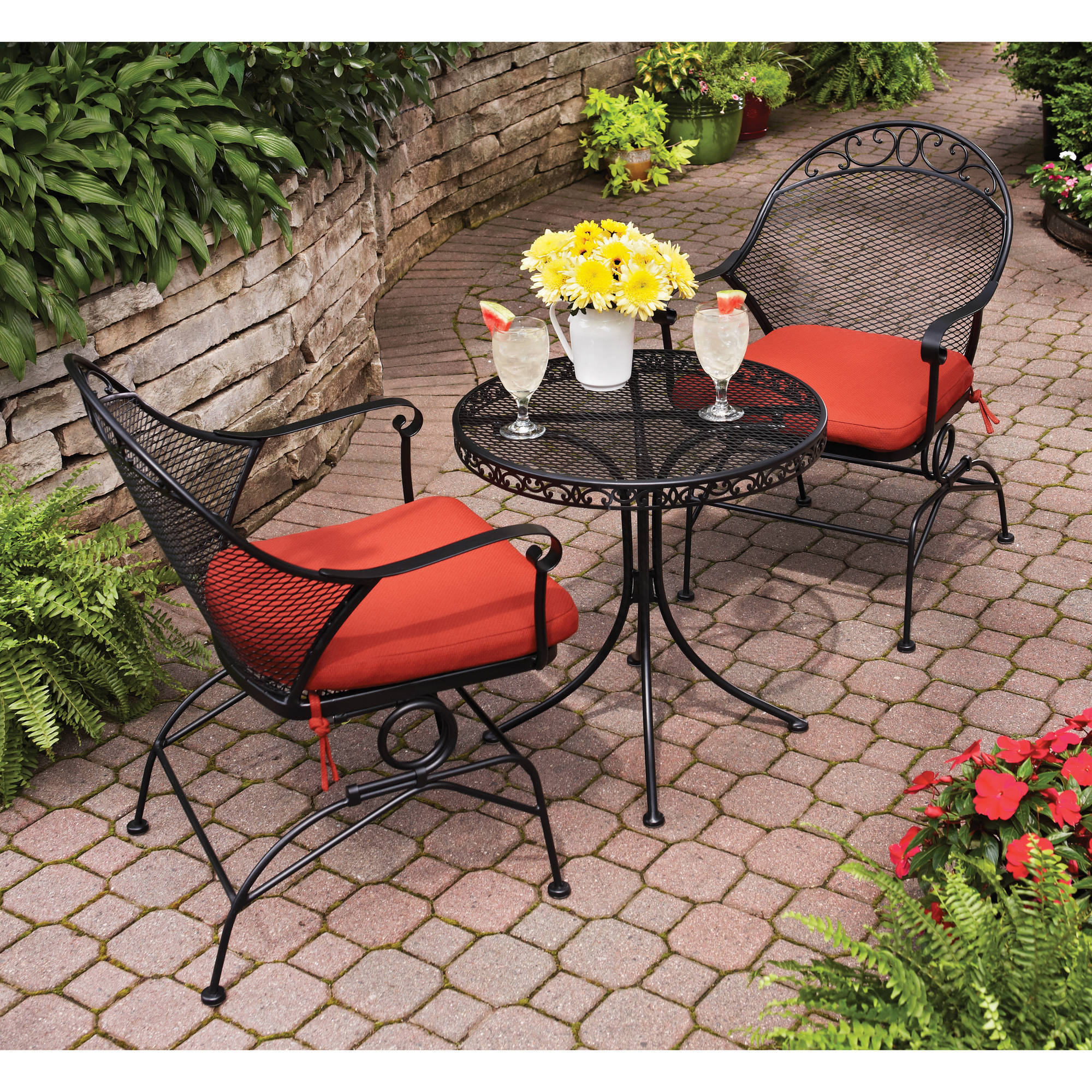 Wrought Iron 3 Piece Outdoor Bistro Set Coffee
