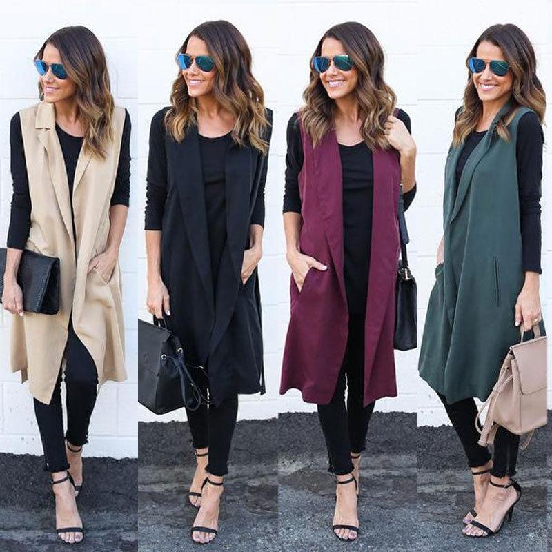 Hotwon New Women Casual Sleeveless Long Duster Coat Jacket