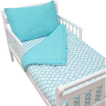American Baby Company 100% Cotton Percale 4-Piece Toddler Bedding Set, Aqua Sea Wave, for Boys and Girls (Boys Toddler Bedding Set Truck)