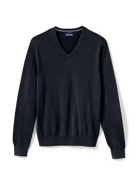 Lands' End Men's Fine Gauge Supima V-Neck Classic Sweater