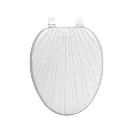 modern shell elongated wood toilet seat white