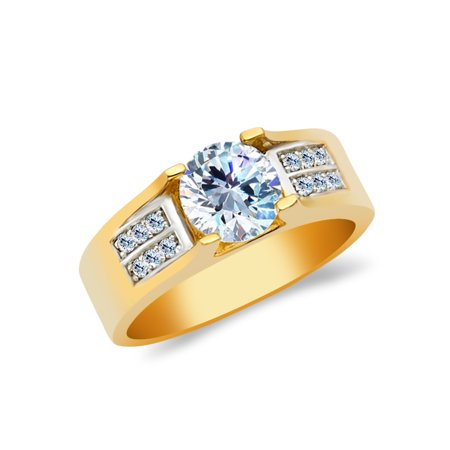 14K Yellow Solid Gold 1 Ct. Round Cut Cubic Zirconia CZ Wedding Engagement Ring - size 4