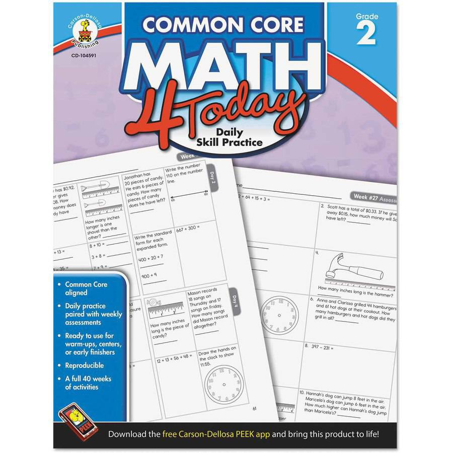 "Carson-Dellosa Publishing Common Core 4 Today Workbook, Math, Grade 2"", 96 pages"
