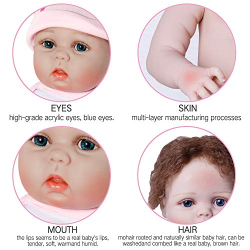 Silicone Body Handmade Realistic Newborn Lifelike Baby Dolls Cute Doll Gift Set for Ages 3+ DUKWIN 22 Reborn Baby Doll Girl