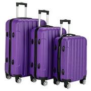 UBesGoo 3PCS Purple Luggage Travel Set Bag ABS Trolley Hard Shell Suitcase w/TSA lockCarry-On, with Wheels