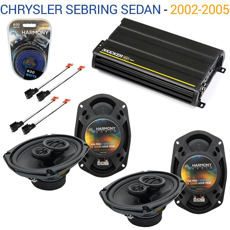 Chrysler Sebring Sedan 02-05 OEM Speaker Upgrade Harmony (2) R69 & CX300.4 Amp - Factory Certified Refurbished