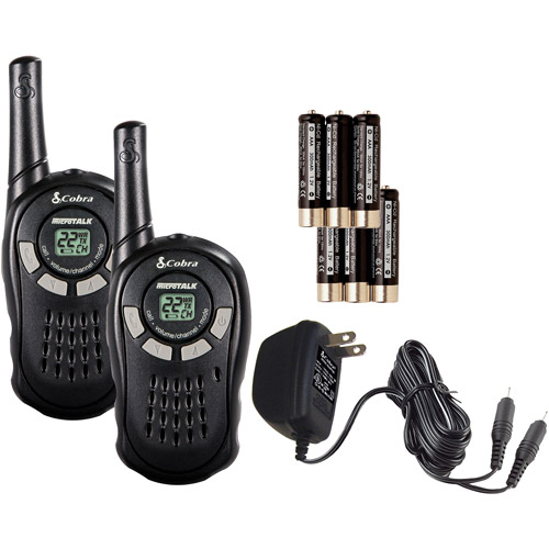PAIR COBRA CXT135 MicroTalk 16 Mile 22 Channel Walkie Talkie 2-Way Radios