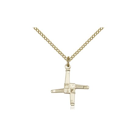 Gold Filled Saint St  Brigid Cross Medal Pendant 5 8 X 5 8  Infants Irel On A 18 Gold Filled Curb Chain Necklace Gift Boxed