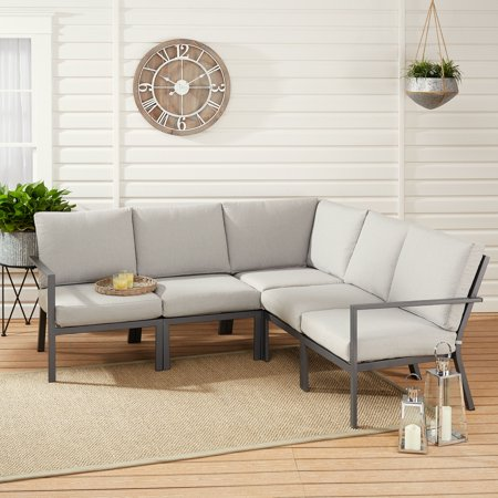 Sectional Patio Set - Mainstays Neste Ridge 5-Piece Patio Sectional Set with Gray Cushions