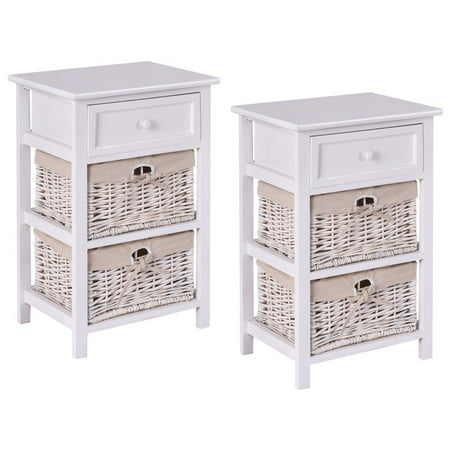 Costway 2PCS Night Stand 3 Tiers 1 Drawer Bedside End Table Organizer Wood W/2 Baskets ()