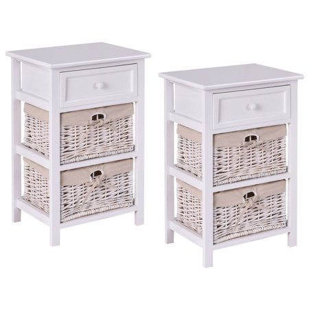 Costway 2PCS Night Stand 3 Tiers 1 Drawer Bedside End Table Organizer Wood W/2 Baskets Two Tiered Wood Table