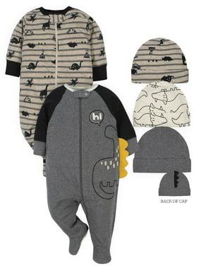 Gerber Baby Boy Organic Sleep 'N Play Pajamas & Caps Bundle, 5-Piece
