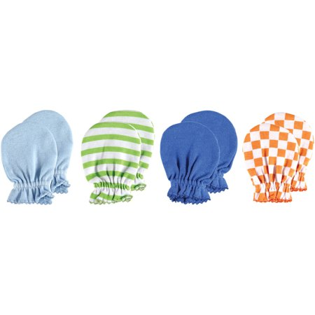Luvable Friends Baby Boy Scratch Mittens, 4-Pack