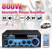 Home/Car Wireless HIFI Digital Bluetooth Stereo Amplifier Receiver , 800W Audio Power Amplifier 2 Channel Receiver with FM Radio ,Black