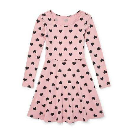 The Children's Place Heart Print Long Sleeve Knit Dress (Little Girls & Big Girls) - Children's Chinese Dress