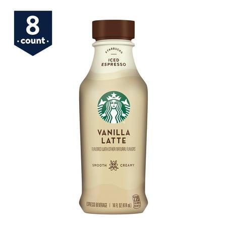 Starbucks Iced Espresso Vanilla Latte, 14 oz Bottles, 8