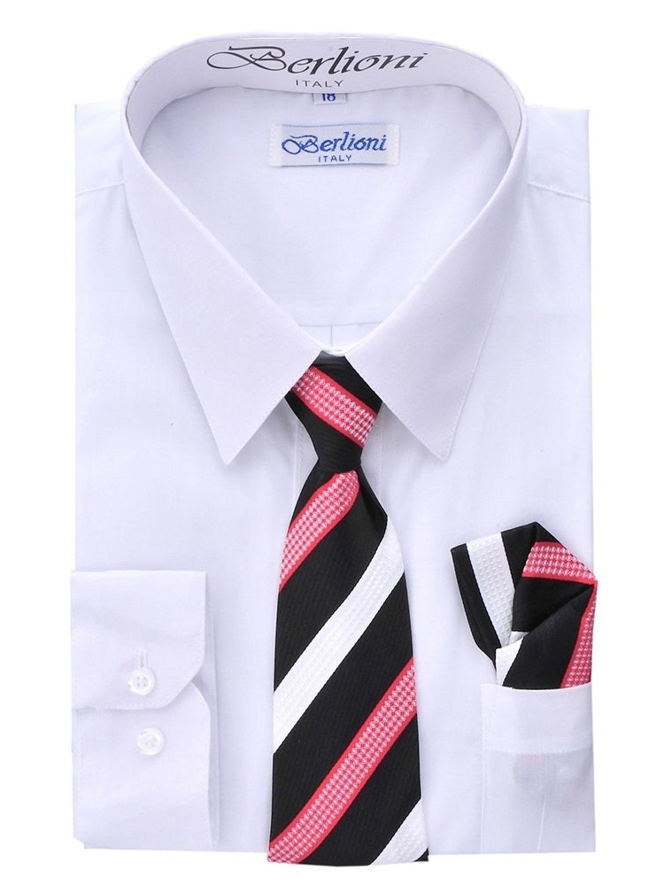 Berlioni Kids Boys Long Sleeve Dress Shirt With Tie and Hanky  White