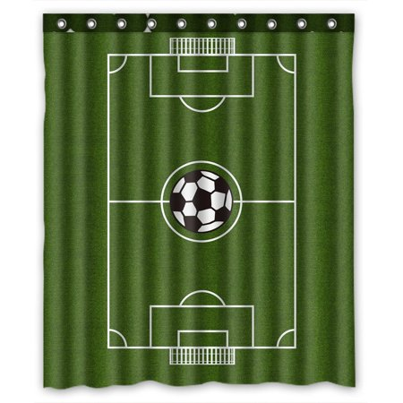 GCKG Soccer Field Bathroom Shower Curtain, Shower Rings Included Polyester Waterproof Shower Curtain 60x72 inches - image 4 of 4