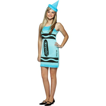 Crayola Sky Blue Tank Dress Teen Halloween Costume](Cat Teen Costume)