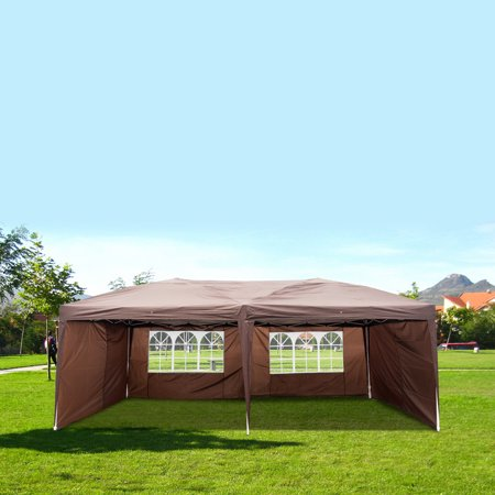 10x20ft, 4w'Waterproof 50+UV-treated Sidewalls Canopy Tent, Made of Premium 210D Oxford Material, Canopy Tent for Wedding, Party, Meeting, Camping, Backyard Barbecue, Birthday Party, Dark Coffe, K159 Decorative Backyard Party Tent