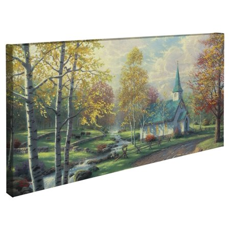"Thomas Kinkade The Aspen Chapel - 16"" x 31"" Gallery Wrapped Canvas"