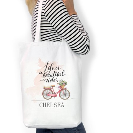 Custom Tote (Life Is A Beautiful Ride Custom Cotton Tote Bag, Sizes 11