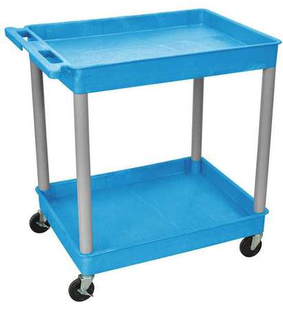 LUXOR BUTC11GY Utility Cart, 400 lb. Load Cap., 2 Shelves
