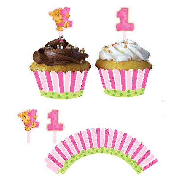 Teddy Bear 1st Birthday Girl Cupcake Pick and Wrapper Set
