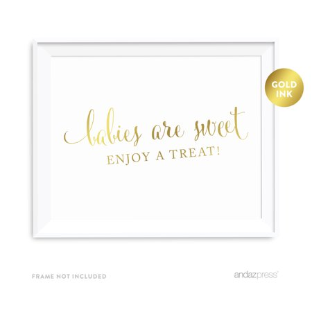 Gold Baby Shower (Babies Are Sweet, Enjoy A Treat Metallic Gold Baby Shower Party)