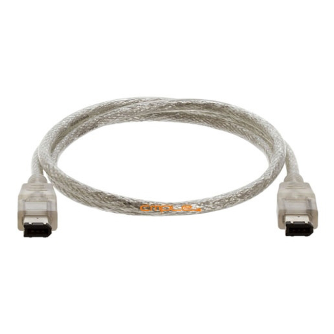 Cmple IEEE-1394 FireWire iLink DV Cable 6Pin-4Pin M/M -3ft Clear