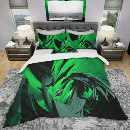 DESIGN ART Designart 'Green and Grey Mixer' Modern & Contemporary Bedding Set - Duvet Cover & Shams (Green Iridium Sonnenbrille)