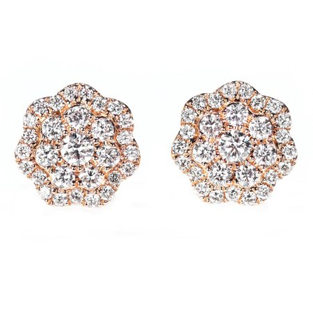 Cluster 1 Carat Round Brilliant Real Diamond Stud Earrings in 14k Rose Gold