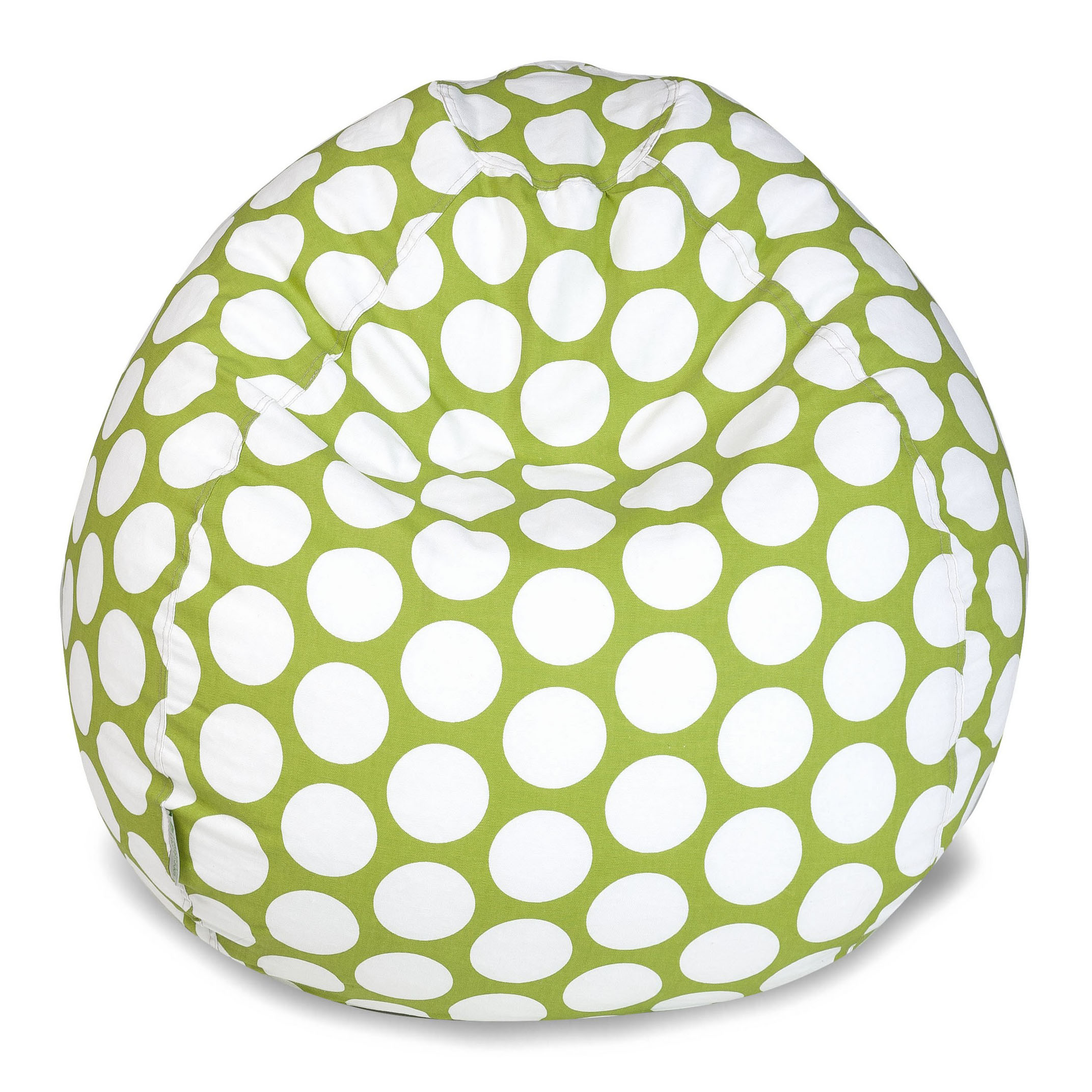 Majestic Home Goods Indoor Hot Green Large Polka Dot Classic Bean Bag Chair 28 in L x 28 in W x 22 in H