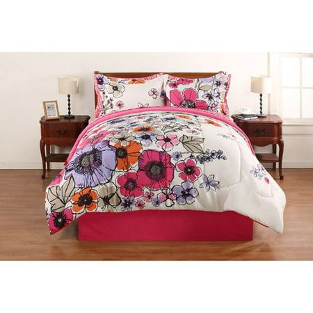 Hometrends Watercolor Fl Bed In A Bag Bedding Set