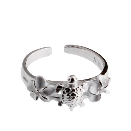 R.H. Jewelry Hawaii Silver Toe ring - Sea Turtle and Flower Toering