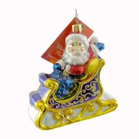 christopher radko christmas delivery sleigh glass ornament christmas santa