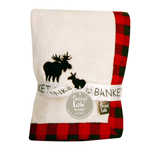 Trend Lab Northwoods Framed Receiving Blanket, Moose Applique by Trend Lab