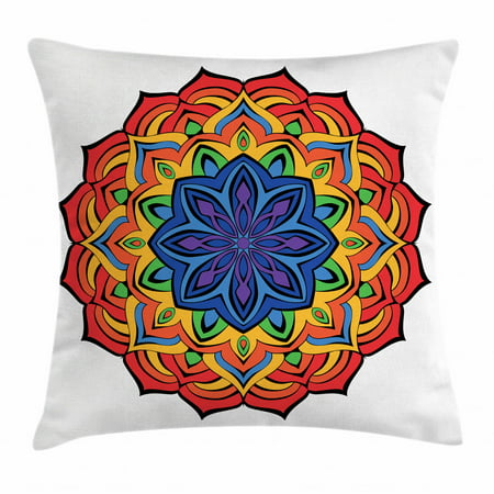 Rainbow Mandala Throw Pillow Cushion Cover, Cinnamon Flower Motif Bohemian Mandala Ornamental Exotic Middle East Design, Decorative Square Accent Pillow Case, 18 X 18 Inches, Multicolor, by Ambesonne