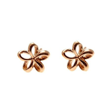 14K pink rose gold Hawaiian polish shiny 7.5mm open plumeria flower earrings ()