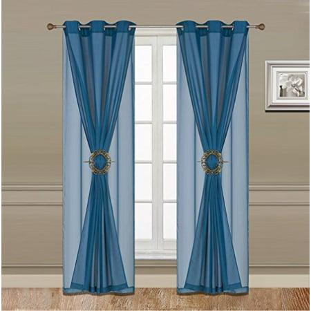 WPM 6 Piece Luxury Curtain Set: 2 Piece Faux Linen Grommets Panel + 2 Sheer Voil Grommets Panels (JKA 1632-Turquoise) ()