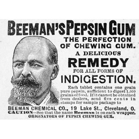 Beemans Pepsin Gum 1895 Namerican Newspaper Advertisement For Chewing Gum 1895 Rolled Canvas Art     18 X 24