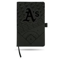 Oakland Athletics Laser Engraved Small Notepad - Black