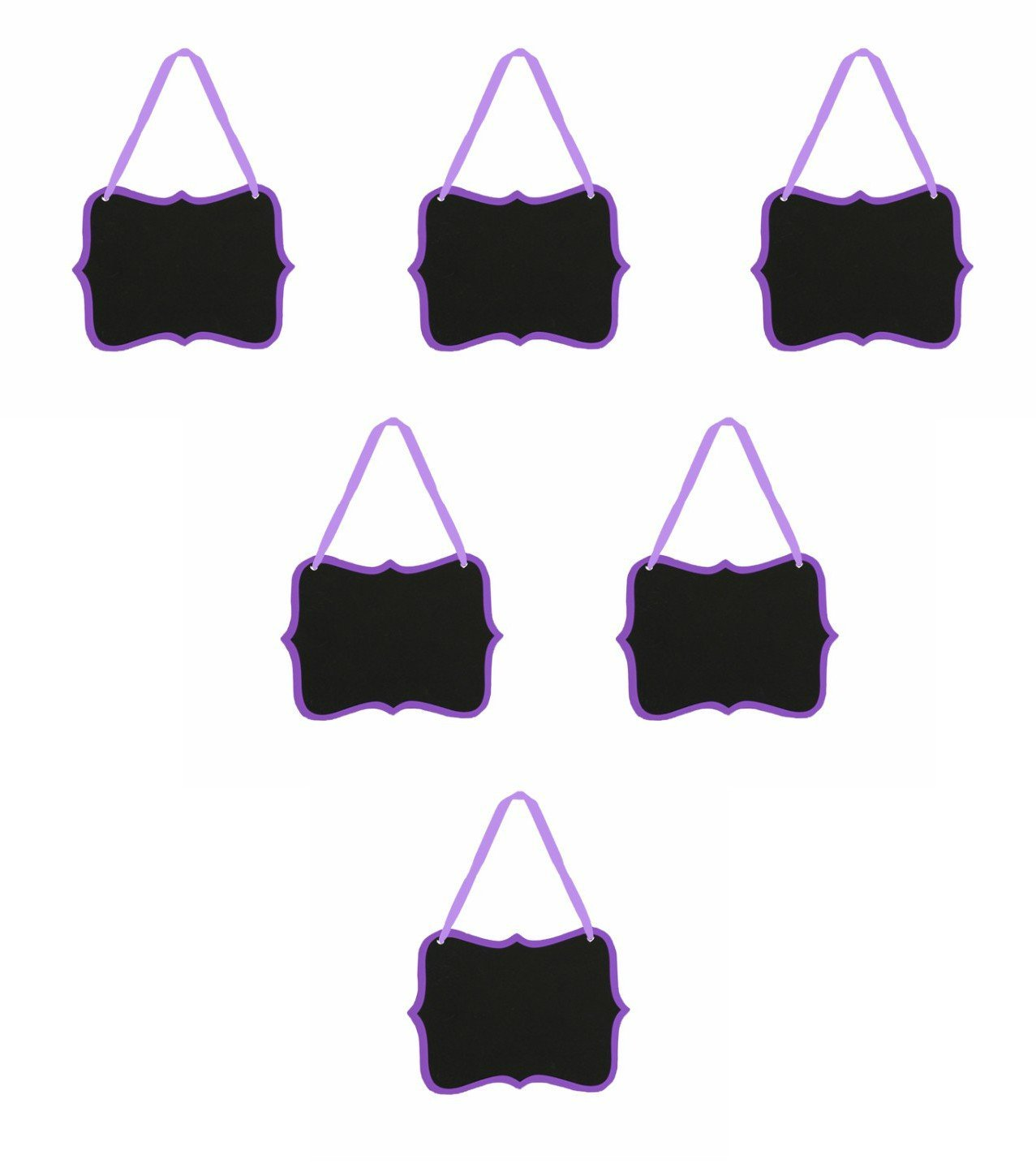 12pc Purple 5.25 x 3.5-inches Fancy Scroll Chalkboard Sign Message Board with String for Kitchen Pantry, Kids... by