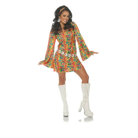 Summer Womens Adult 60S Groovy Hippie Chick Halloween Costume - Last Minute Hippie Halloween Costume